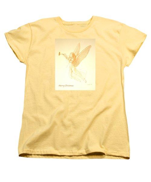 Christmas Angel With Trumpet Women's T-Shirt (Standard Cut) by Deborah Dendler