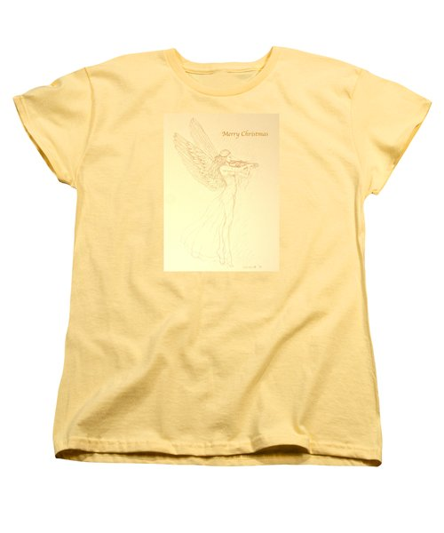 Christmas Angel With Violin Women's T-Shirt (Standard Cut) by Deborah Dendler
