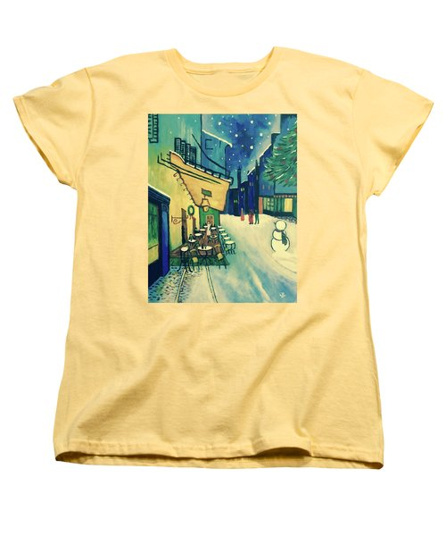 Christmas Homage To Vangogh Women's T-Shirt (Standard Cut) by Victoria Lakes