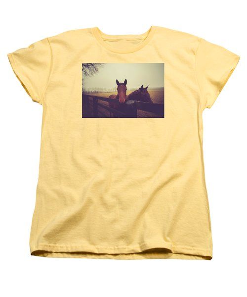 Women's T-Shirt (Standard Cut) featuring the photograph Christmas Horses by Shane Holsclaw