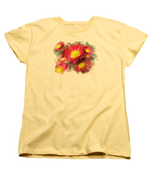 Chrysanthemum Watercolor Art Women's T-Shirt (Standard Cut) by Christina Rollo