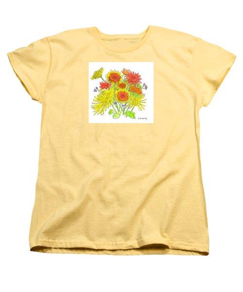 Chrysanthemums Women's T-Shirt (Standard Cut) by Deborah Dendler