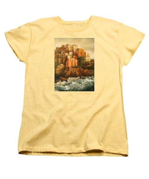 Cinque Terre Lerici Italia Painting Women's T-Shirt (Standard Cut) by Vali Irina Ciobanu
