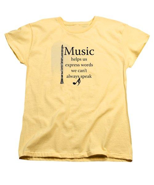 Clarinet Music Expresses Words Women's T-Shirt (Standard Cut) by M K  Miller
