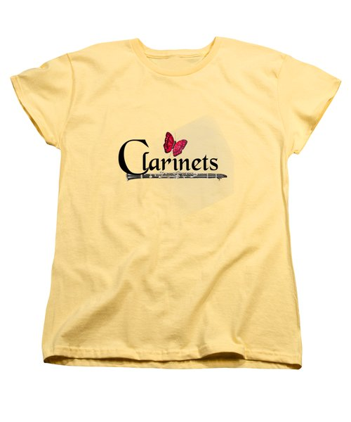 Clarinets And Butterfly Women's T-Shirt (Standard Cut) by M K  Miller