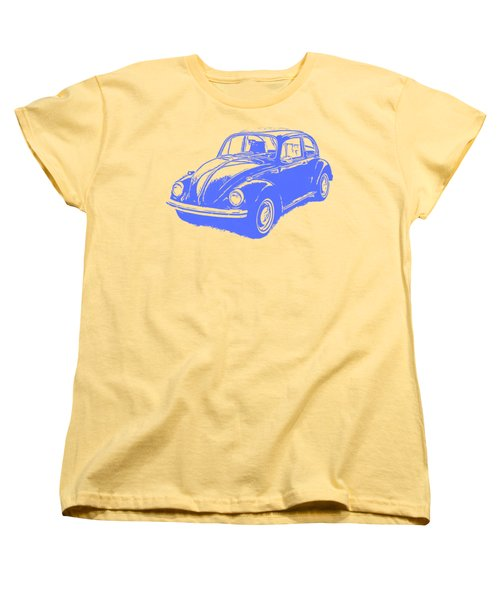 Classic Vw Beetle Tee Blue Ink Women's T-Shirt (Standard Cut) by Edward Fielding