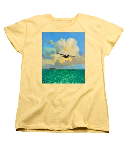 Women's T-Shirt (Standard Cut) featuring the painting Clipper Over The Islands by David  Van Hulst