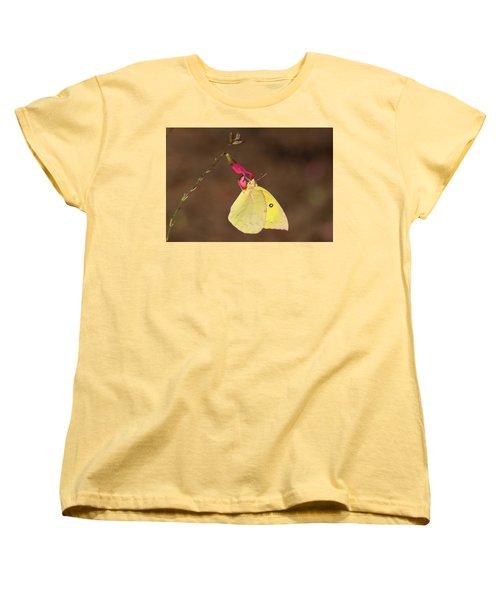 Clouded Sulphur Butterfly On Pink Wildflower Women's T-Shirt (Standard Cut) by Sheila Brown