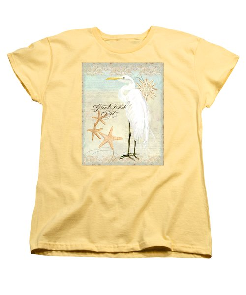 Coastal Waterways - Great White Egret 3 Women's T-Shirt (Standard Cut) by Audrey Jeanne Roberts