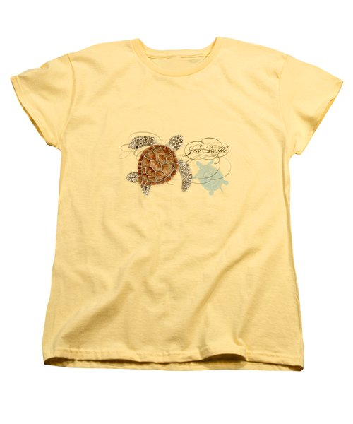 Coastal Waterways - Green Sea Turtle Rectangle 2 Women's T-Shirt (Standard Cut) by Audrey Jeanne Roberts