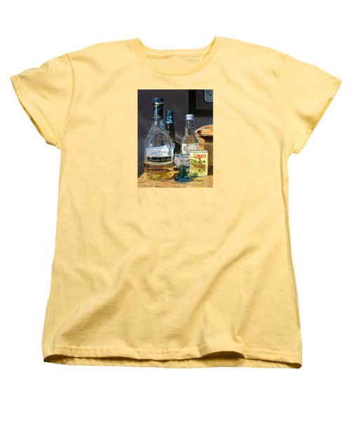 Women's T-Shirt (Standard Cut) featuring the painting Cocktails And Mustard by Lynne Reichhart