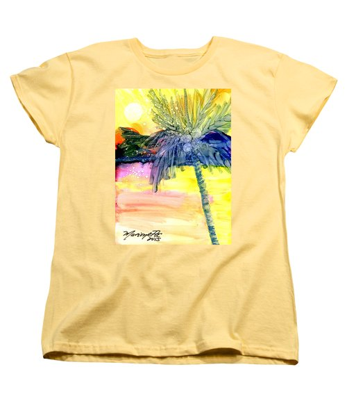 Women's T-Shirt (Standard Cut) featuring the painting Coconut Palm Tree 3 by Marionette Taboniar