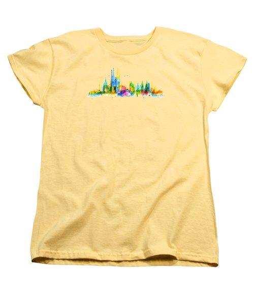Color Barcelona Skyline 01 Women's T-Shirt (Standard Cut) by Aloke Creative Store