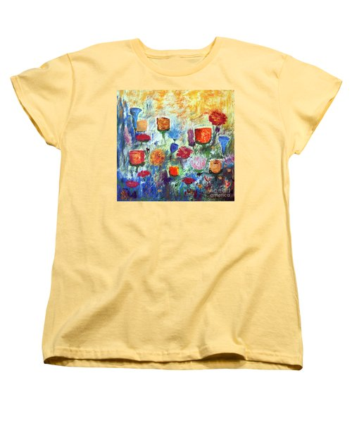 Women's T-Shirt (Standard Cut) featuring the painting Colorful Garden by Haleh Mahbod