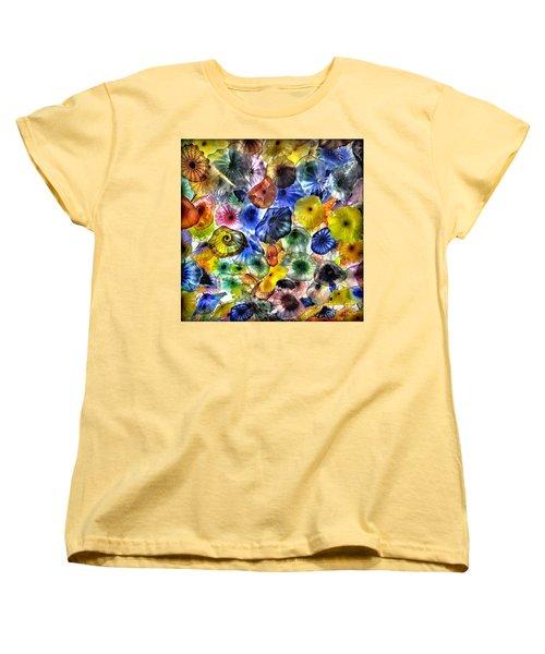 Colorful Glass Ceiling In Bellagio Lobby Women's T-Shirt (Standard Cut) by Walt Foegelle