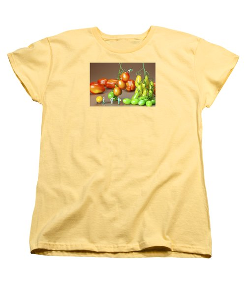 Women's T-Shirt (Standard Cut) featuring the photograph Colorful Tomato Harvest Little People On Food by Paul Ge