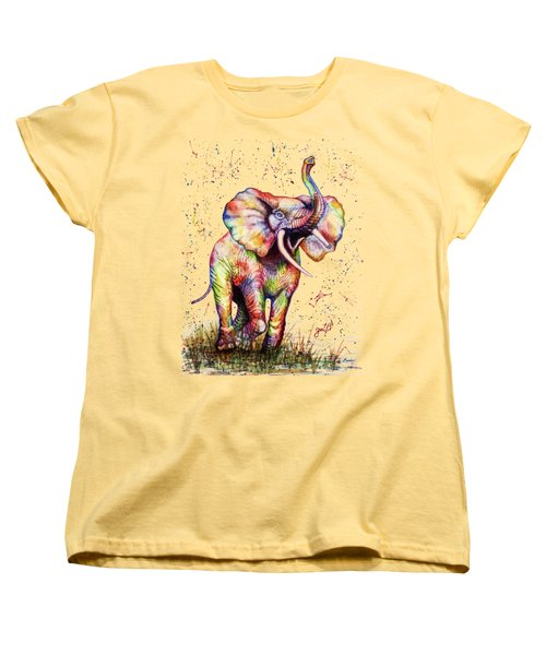Women's T-Shirt (Standard Cut) featuring the painting Colorful Watercolor Elephant by Georgeta Blanaru