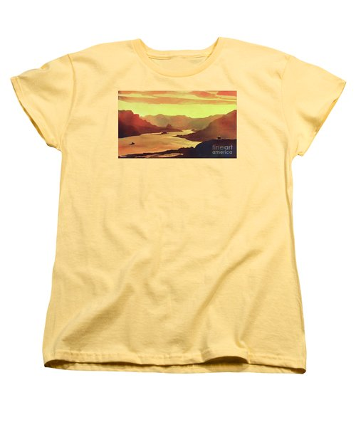 Women's T-Shirt (Standard Cut) featuring the painting Columbia Gorge Scenery by Ryan Fox
