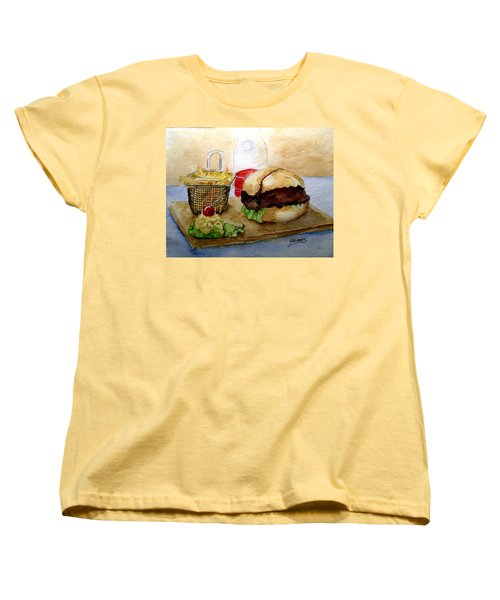 Women's T-Shirt (Standard Cut) featuring the painting Come And Get It Dinner Is Ready by Carol Grimes