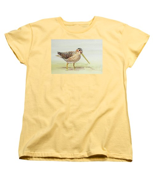 Women's T-Shirt (Standard Cut) featuring the painting Common Snipe Wading by Thom Glace
