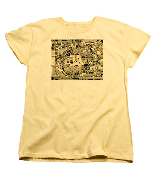 Complexity And Complications - Clockwork Gold Women's T-Shirt (Standard Cut) by Serge Averbukh