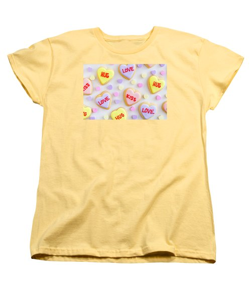 Women's T-Shirt (Standard Cut) featuring the photograph Conversation Heart Cookie Love by Teri Virbickis