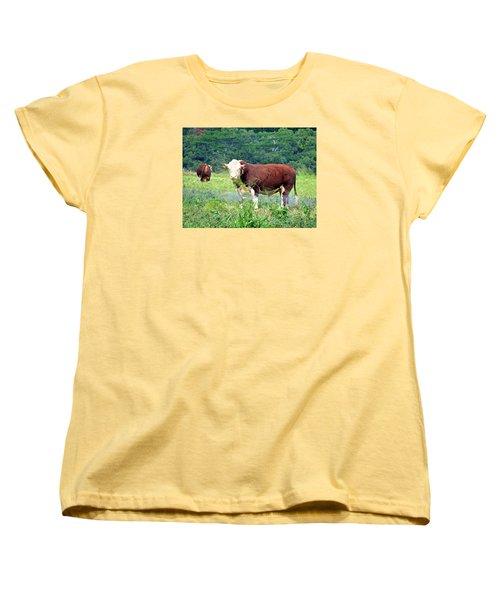 Cow Today Women's T-Shirt (Standard Cut) by Angela Annas
