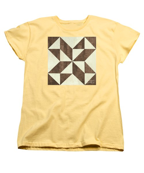 Women's T-Shirt (Standard Cut) featuring the painting Cream And Brown Quilt by Debbie DeWitt
