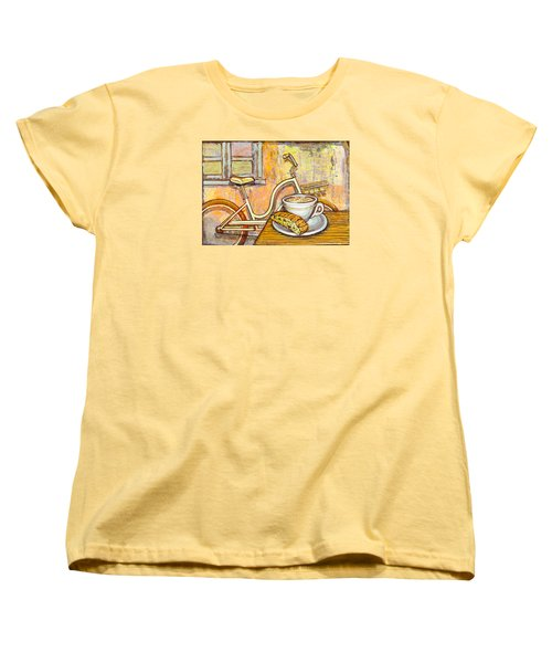 Cream Electra Town Bicycle With Cappuccino And Biscotti Women's T-Shirt (Standard Cut) by Mark Jones