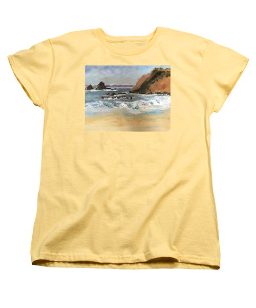 Women's T-Shirt (Standard Cut) featuring the painting Crescent Beach At Laguna  by MaryAnne Ardito