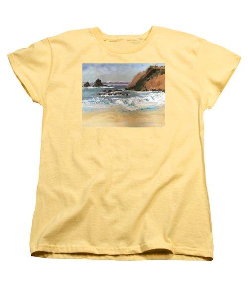 Crescent Beach At Laguna  Women's T-Shirt (Standard Cut) by MaryAnne Ardito