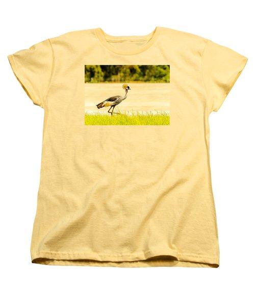 Crested Crane Women's T-Shirt (Standard Cut) by Patrick Kain