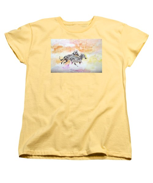 Crossing The River. Women's T-Shirt (Standard Cut) by Khalid Saeed