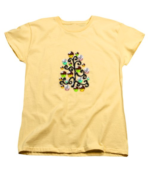 Cupcake Glass Tree Women's T-Shirt (Standard Cut) by Anastasiya Malakhova