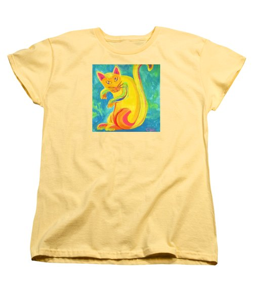 Women's T-Shirt (Standard Cut) featuring the painting Curious Kitty by Cathy Long