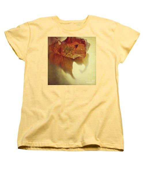 Curled Autumn Leaf Women's T-Shirt (Standard Cut) by Lyn Randle