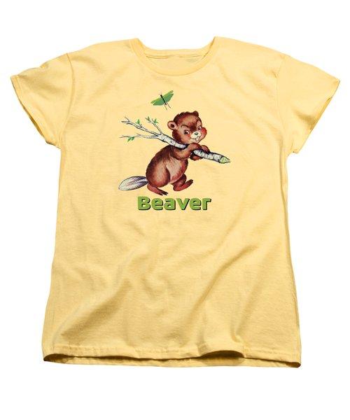 Cute Baby Beaver Pattern Women's T-Shirt (Standard Fit)