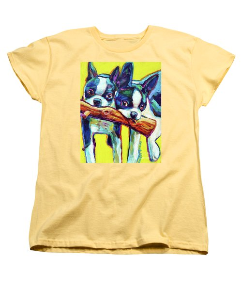 Women's T-Shirt (Standard Cut) featuring the painting Cute Boston Terriers by Robert Phelps