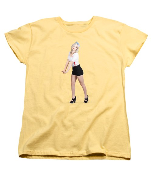 Cute Vintage Woman Isolated Over White Background Women's T-Shirt (Standard Cut)