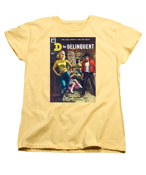 Women's T-Shirt (Standard Cut) featuring the painting D For Delinquent by Rudy Nappi
