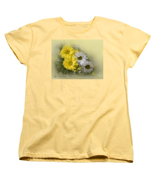 Women's T-Shirt (Standard Cut) featuring the painting Daisy Spring Bouquet by Bonnie Willis