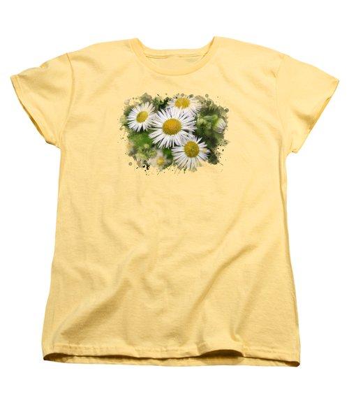 Daisy Watercolor Art Women's T-Shirt (Standard Cut) by Christina Rollo