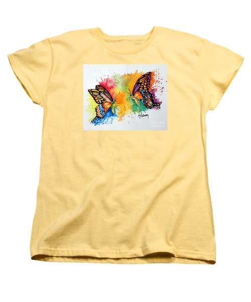 Women's T-Shirt (Standard Cut) featuring the painting Dance Of The Butterflies by Maria Barry