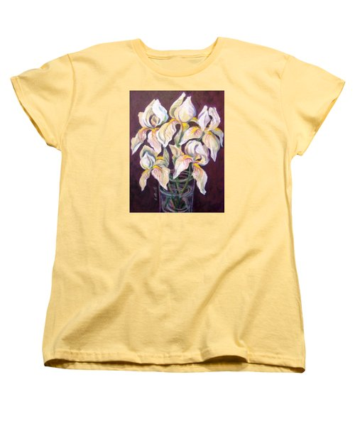 Women's T-Shirt (Standard Cut) featuring the painting Dancing Iris by Laura Aceto