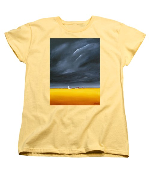 Women's T-Shirt (Standard Cut) featuring the painting Dark And Stormy by Jo Appleby