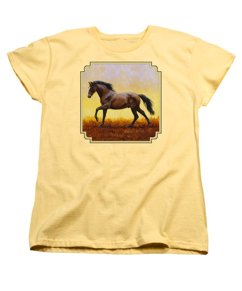 Dark Bay Running Horse Yellow Women's T-Shirt (Standard Fit)