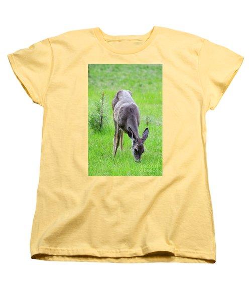 Deer In The Field Women's T-Shirt (Standard Cut) by Debby Pueschel