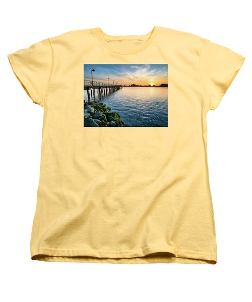 Women's T-Shirt (Standard Cut) featuring the photograph Del Norte Pier And Spring Sunset by Greg Nyquist