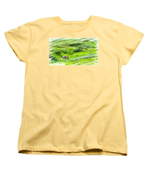 Women's T-Shirt (Standard Cut) featuring the photograph Denali National Park Caribou by Joseph Hendrix