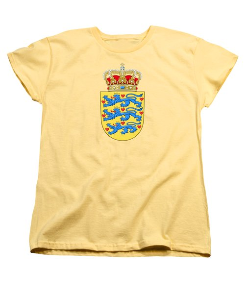 Women's T-Shirt (Standard Cut) featuring the drawing Denmark Coat Of Arms by Movie Poster Prints